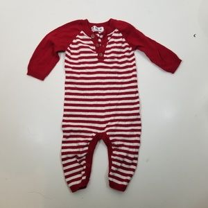 Infant Sweater Red Striped One Piece Outfit 3-6